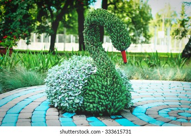 Flowerbed with figures of swans.