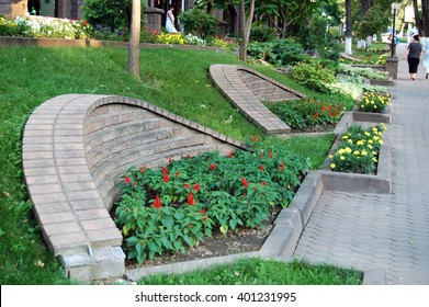 Flowerbed, no parks hardscape design. The City Of Almaty. Abylaikhan Street. Of The Republic Of Kazakhstan