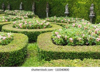 Flowerbeds and flower garden in Park