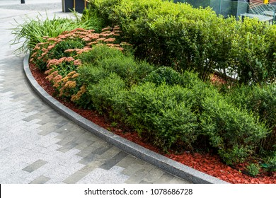 Flowerbeds in a park with ornamental bushes and evergreens in a landscape park