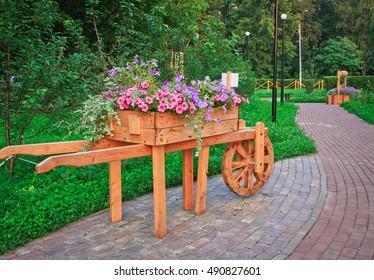 Flowerbed-truck with purple petunias
