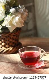 floweres and hibiscus tea