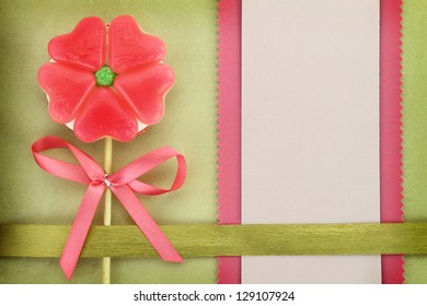 Flower-Heart lollipop and paper greeting card