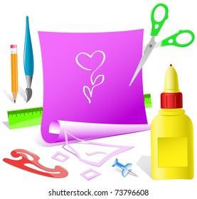Flower-heart. Paper template. Raster illustration.
