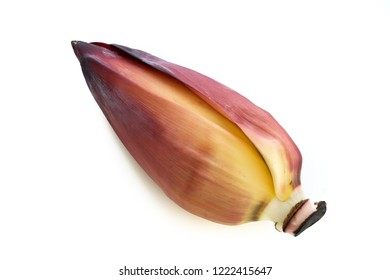 flowering banana stalk on banana isolated white background