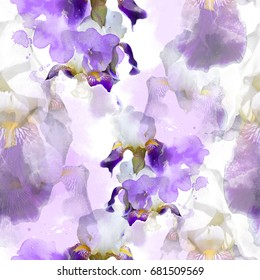 Flowering irises seamless pattern. abstract watercolor and photo picture. mixed media artwork for textiles, fabrics, souvenirs, packaging and greeting cards.