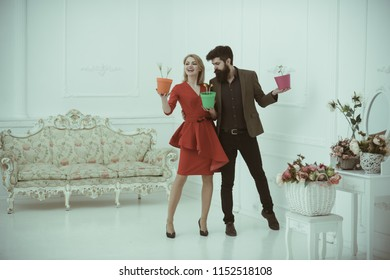 Flowerpot concept. Sensual woman and bearded man hold flowerpots. Happy man and woman smile with spring flowers in flowerpot. Houseplants in flowerpots.