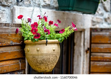 Flowerpot with flowers is on the street of the ancient city