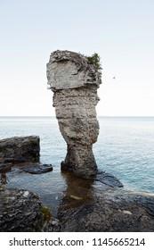 Flowerpot rock formation on Flowerpot Island in Fathom Five National Park, Ontario, Canada