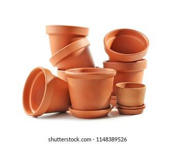 Flowerpots for gardening on white background
