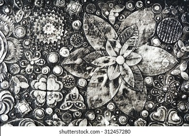 Flowers, abstract grunge surface, black and white composition made of paint layers, quelling with die cut and scissors, abstract background painting. 3d, three, dimensional embossing  and carving,