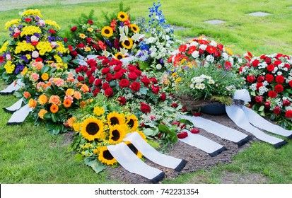 Flowers after a funeral in an old cemetery
