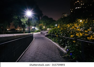 Flowers along a walkway at night, at the Hudson River Park, in Battery Park City, Manhattan, New York.