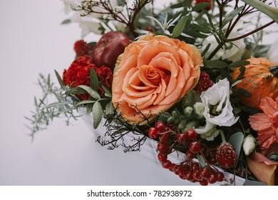 Flowers arrangement. Bright flower bouquet