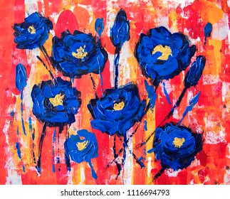 flowers art, acrylic illustration