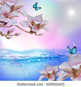 Flowers background with amazing spring