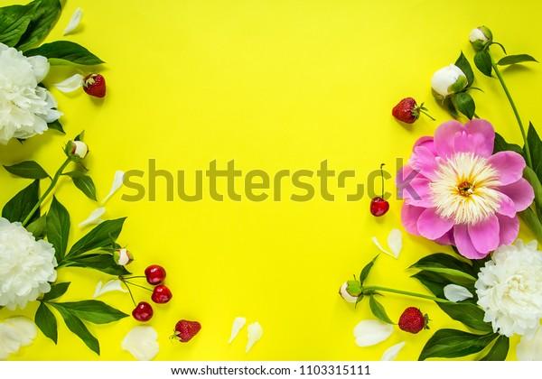 flowers background, peonies, top view of peonies