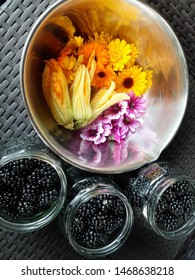 Flowers and berrys from permaculture garden