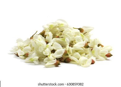 Flowers of black locust (Robinia pseudoacacia). The flower is aromatic and used in perfume industry; its tea can be used in the treatment of reflux disease, by lowering gastric acid levels.