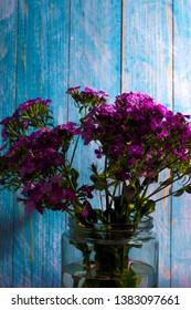 flowers with blue backraund in vase