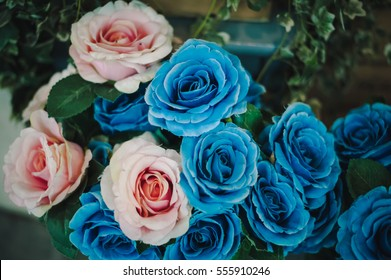 Flowers blue pink