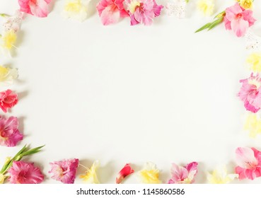 Flowers border frame made of pink and yellow  gladioluses on white background. Pattern of gladioli,  holiday greeting card.  Flat lay, top view. Flowers background. Frame of flowers. Copy space