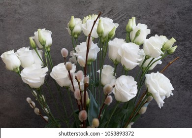 Flowers bouquet of carnations and prairie gentian