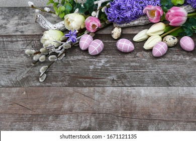 Flowers bouquet with Easter eggs