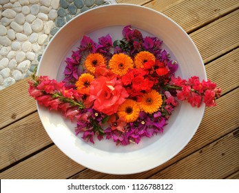 Flowers in a bowl at spa