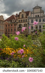 Flowers by Jan Hus Monument and ornate buildings in Old Town Square, Prague