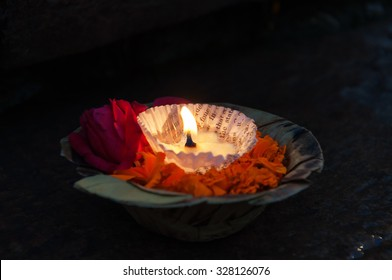 Flowers and candle for Ganga Aarti ritual. Varanasi. Uttar Pradesh, India