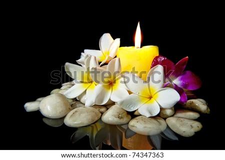 Flowers candle white rock spa use stock photo edit now 74347363 flowers with candle white rock for spa use isolated on black mightylinksfo