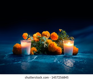 "Flowers of ""cempasuchil"" or marigold used for mexican altars at day of the day"