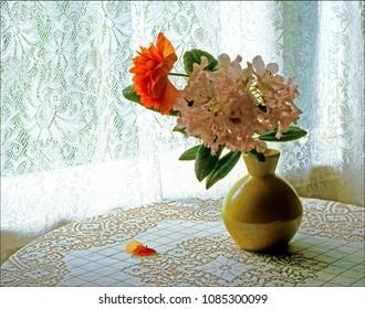 Flowers in ceramic vase