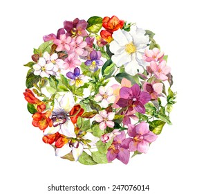 Flowers in circle floral pattern with butterflies. Meadow: violets, grass, wild herbs, cherry flowers, orchid. Watercolor