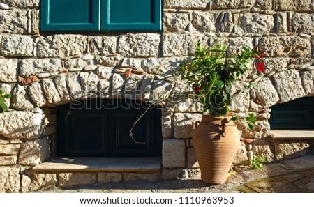 Flowers Clay Vase Next Old Brick Stock Photo Edit Now 1110963953
