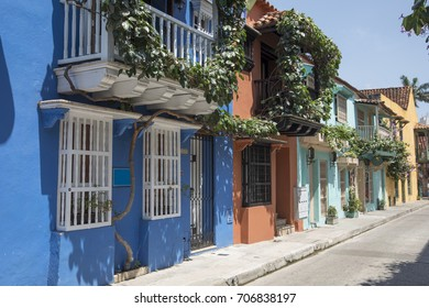 Flowers and colonial architecture as seen in Cartagena, Colombia