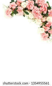 Flowers composition background . Pink flowers azalea pattern on white background. Top view. Copy space. Holiday concept