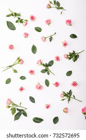 Flowers composition. Frame made of dried rose flowers. Flat lay, top view