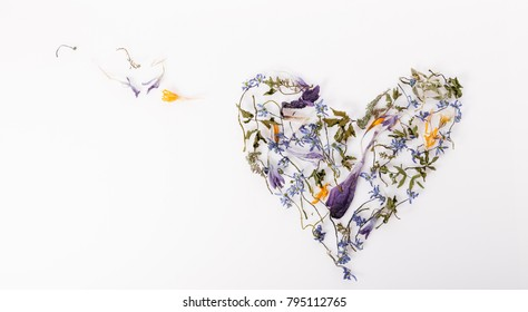 Flowers composition. Frame made of dried flowers in the shape of a heart on white background. Flat lay, top view. Copy space. Birthday, Mother's, Valentines, Women's, Wedding Day concept.