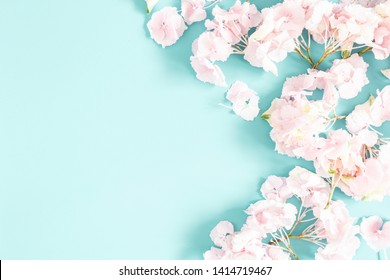 Flowers composition. Frame made of pink and white flowers on pastel blue background. Flat lay, top view, copy space, square