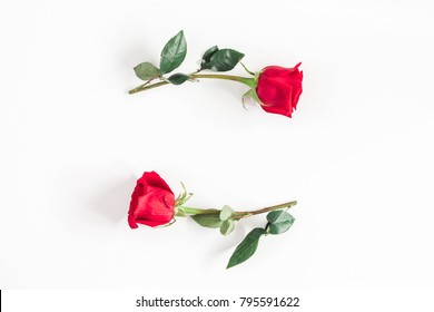 Flowers composition. Frame made of rose flowers on white background. Flat lay, top view, copy space.