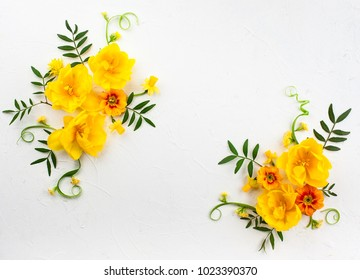Flowers composition oh white background with spring flowers. Easter concept with copy spase. Flat lay, top view.