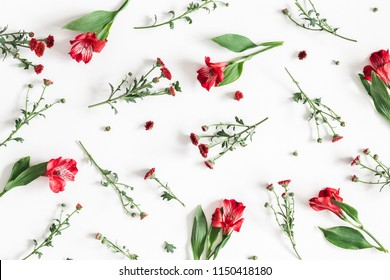 Flowers composition. Pattern made of red flowers on white background. Flat lay, top view, square