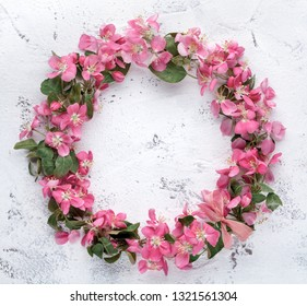 Flowers composition. Wreath made of pink flowers