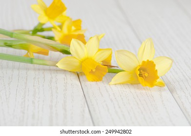 flowers daffodils on wooden background