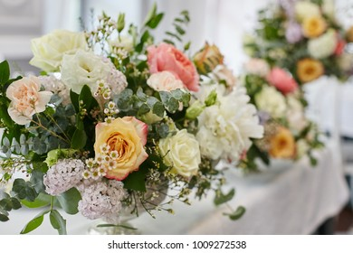 Flowers decoration for weddind table of newlyweds