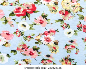 Flowers design seamless pattern on fabric background