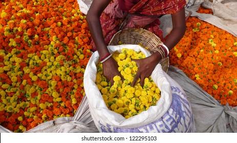 Flowers at the flower market in Kolkata. India