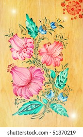Flowers in folk-lore style are drawn on a wooden background